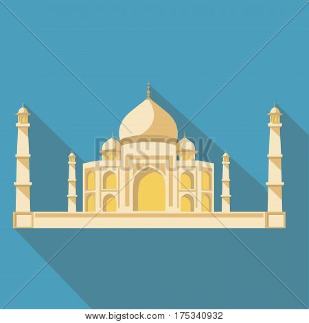 Vector illustration long shadow flat icon of taj mahal