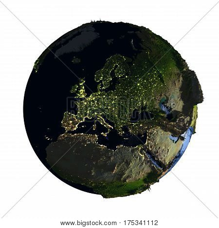 Europe On Earth At Night Isolated On White