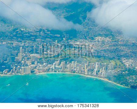 Aerial shot of Waikiki Beach, Oahu, Hawaii
