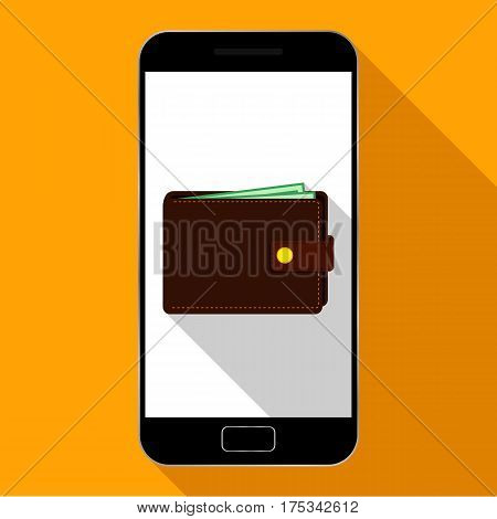 Mobile payments, online payment, phone icon with purse, payment icon. Vector illustration.