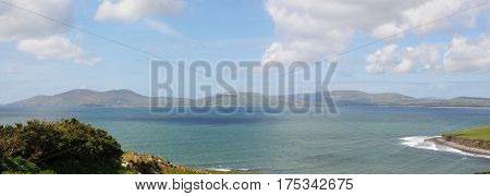 Along the Blue Sea of an Irish Landscape with Blue Sky