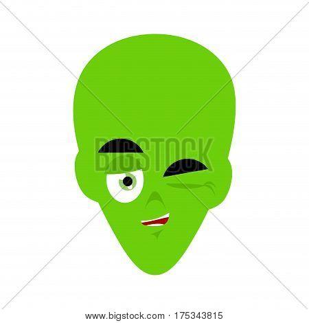 Green Alien Winks Emoji. Ufo Face Happy Emotion
