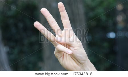 Male Hand Gesture Showing Fingers Counting Three
