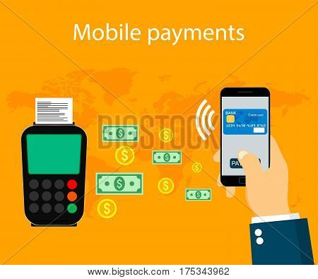 Mobile payments and near field communication. Nfc payment online. Vector illustration