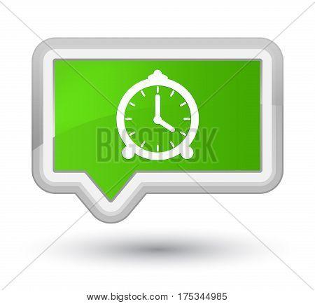Alarm Clock Icon Prime Soft Green Banner Button