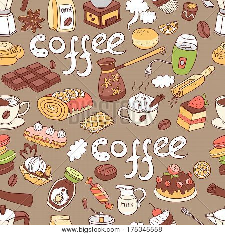 Vector seamless pattern with  doodle coffee. Equipment and dessert, spoon, sweets, cake, cup, bakery and cookery. Color.