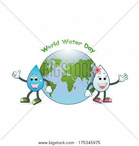 World water day illustration cartoon design.Water cartoon mascot character.Water drop icon vector logo design template.World Water Day idea campaign.Vector illustration