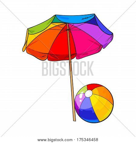 Rainbow colored, open beach umbrella and inflated ball, sketch vector illustration isolated on white background. Hand drawn sun shading umbrella and beach ball, summer vacation in tropical countries