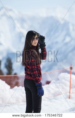Image of portrait woman with background snow