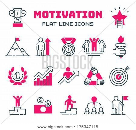 Vector set motivations outline icons related to business management, strategy, career progress and business process. Mono line motivations pictograms and infographics motivations design elements.