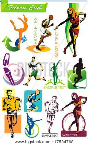 COLLECTION_8 Exclusive Series of Sports Icons and Fitness Club symbols with modern ideas. Vector color set for Web. Abstract creative element templates.