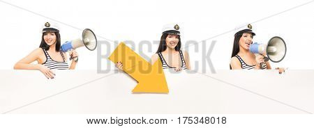 Young, beautiful and sexy sailor girl: with a loudspeaker and yellow arrow. Collection set isolated on white background.