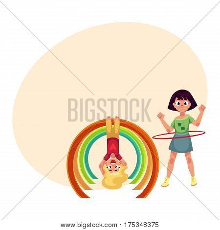 Two girls playing at playground, spinning hula hoop and hanging upside down on monkey bar, cartoon vector illustration with place for text. Girl friends having fun at playground