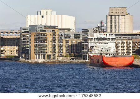 Norwegian urban landscape. Stavanger harbor and marina. Norway highlight