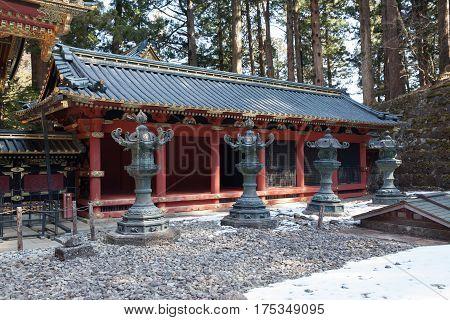 Stone Lanterns of Toshogu Shrine at Nikko nation park.