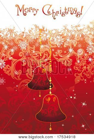 Christmas decoration winter background with space for text. Abstract vector postcard with gold campanulas.