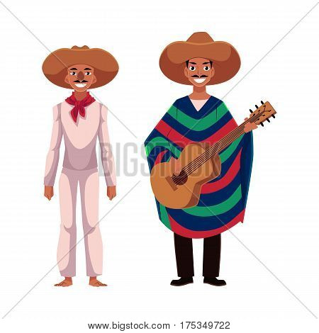 two Mexican man in traditional national sombrero and poncho playing guitar, cartoon vector illustration isolated on white background. two Full length portrait of Mexican man in national clothes
