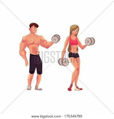 Man and woman bodybuilders, weightlifters working out, training with dumbbells, cartoon vector illustration isolated on white background. Full length portrait of man, woman bodybuilders with dumbbells