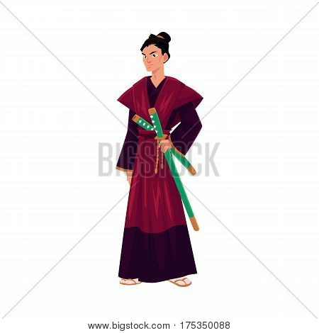 Japanese samurai, warrior in traditional kimono with katana swords, symbol of Japan, cartoon vector illustration isolated on white background. Full length portrait of Japanese samurai with swords
