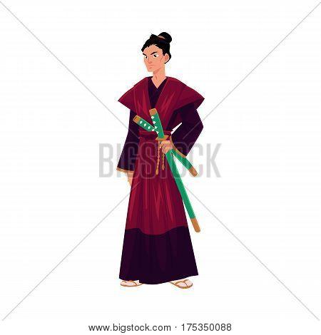 Japanese samurai, warrior in traditional kimono with katana swords, symbol of Japan, cartoon vector illustration isolated on white background. Full length portrait of Japanese samurai with swords