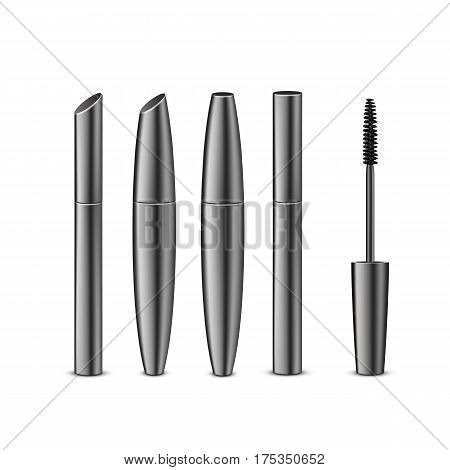 Vector Set of Different Closed Black Realistic Mascara in Dark Shiny Tubes with Brush Isolated on White Background