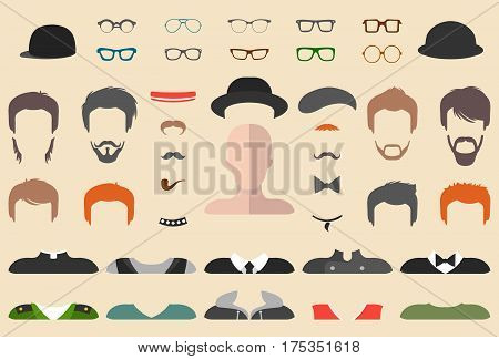 Big vector set of dress up constructor with different men glasses beard mustache wear in trendy flat style. Male faces icon creator.