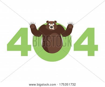 Error 404. Bear Surprise. Page Not Found Template For Web Site. Grizzly Does Not Know And Is Surpris
