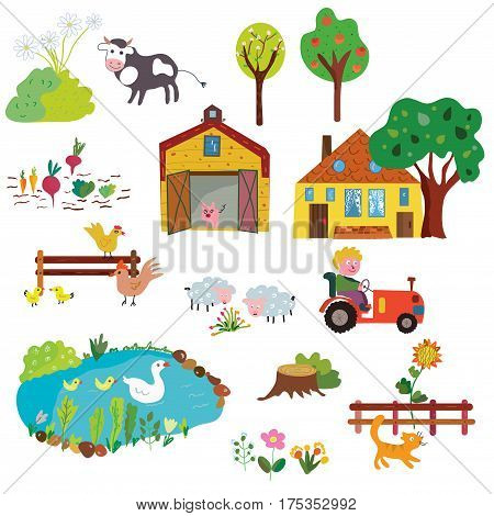 Farm life design elements set - funny design vector graphic illustration