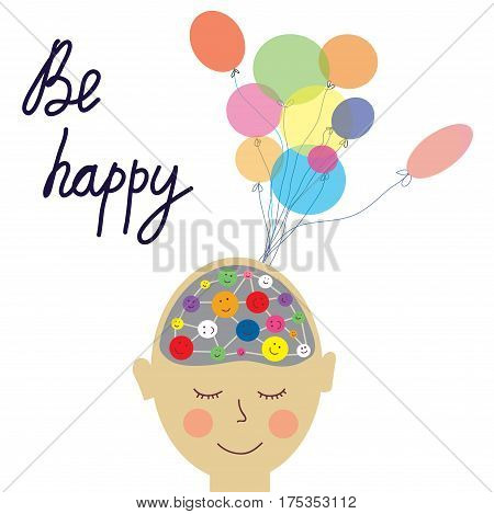 Happy person concept card with brain - vector graphic illustration