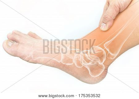 foot muscle pain white background foot pain