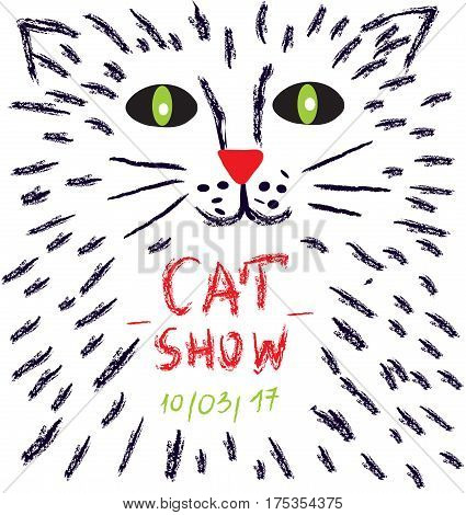 Poster for the cats show or vet advertisiment - vector graphic illustration