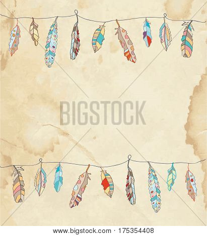 Background or card with feathers - vector graphic illustration