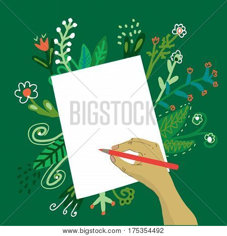 Hand writing on the paper with a pencil and flowers -vector graphic illustration background