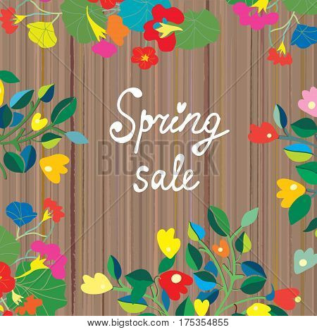 Spring sale banner floral design on the wooden texture - vector graphic illustration