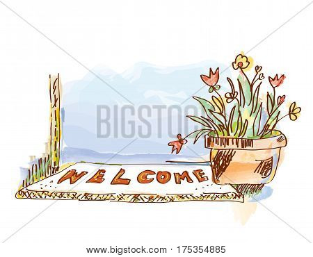 Welcome banner with door and flowers - sketchy style vector graphic illustration