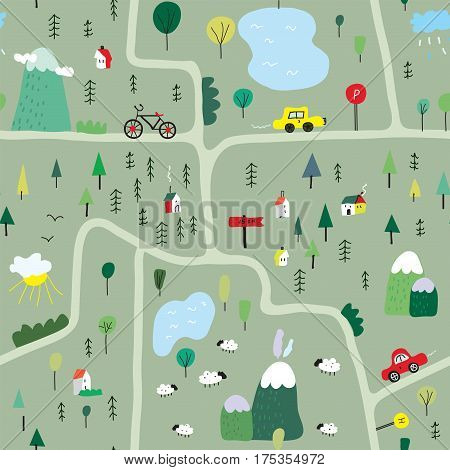 Funny map seamless pattern with nature landscape and camping - vector graphic illustration