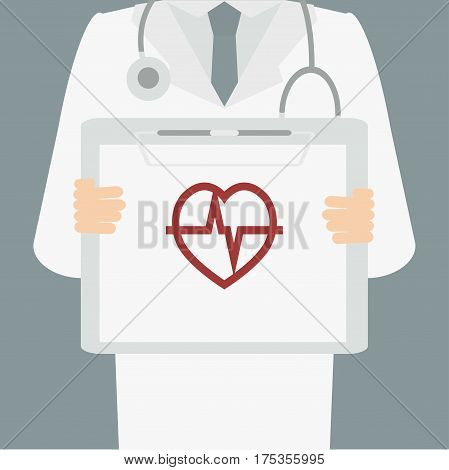Close-up of a man doctor with lab coat holding a clipboard National Heart Month Vector illustration