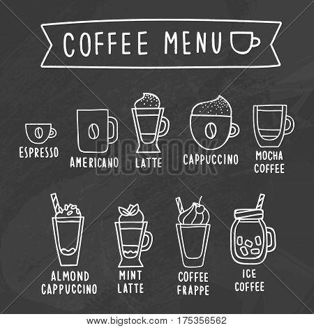 Coffee menu. Chalk drawing on a blackboard. Vector hand drawn illustration