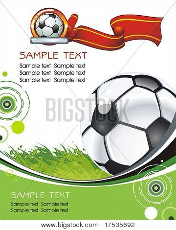Abstract background with Soccer ball on field. Vector Classical football poster for design. Beautiful illustration with Place for your text.