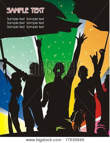 Graphic illustration with silhouettes of sport fans. Vector background with space for text.
