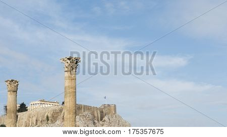 Towering pillars of the Temple of Olympian Zeus at Athens Greece
