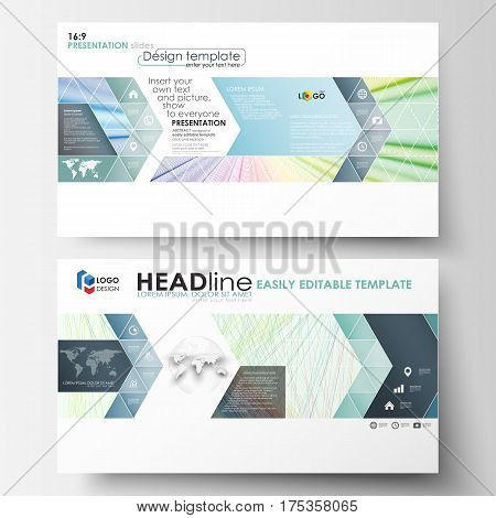 Business templates in HD format for presentation slides. Easy editable layouts in flat style, vector illustration. Colorful background with abstract waves, lines. Bright color curves. Motion design