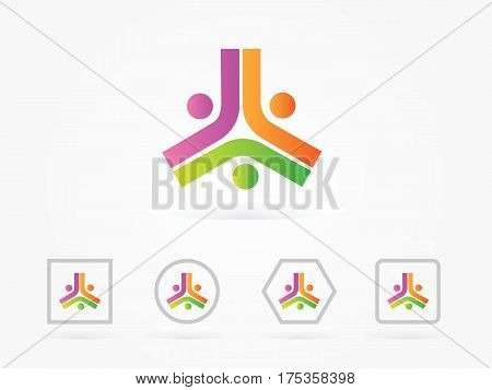 Vector abstract triangle composed from three checkmarks. Geometric symbol isolated on white background pyramid. three spot