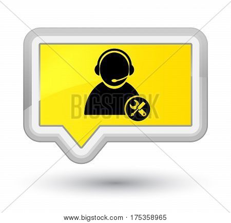 Tech Support Icon Prime Yellow Banner Button
