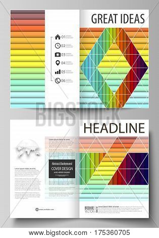 Business templates for bi fold brochure, magazine, flyer, booklet or annual report. Cover design template, easy editable vector, abstract flat layout in A4 size. Bright color rectangles, colorful design with overlapping geometric rectangular shapes