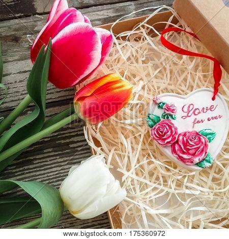 Ceramics Heart Inscription Love For Ever.