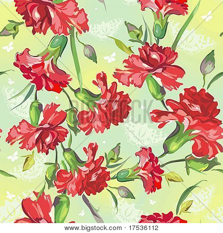 Red Carnations on green background with butterflies. Floral vintage seamless pattern.