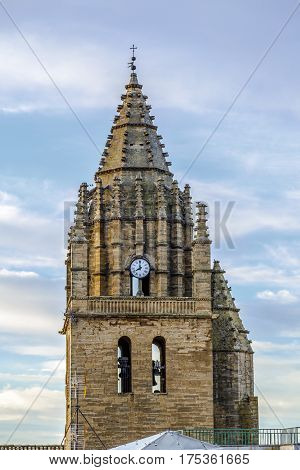 church bell tower Late 16th century late Gothic building of San Esteban built in the village of Loarre Aragon Huesca Spain near Loarre Castle