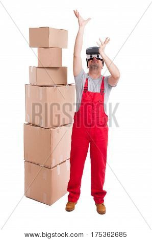 Mover Man Wearing Virtual Reality Glasses Holding Something Up