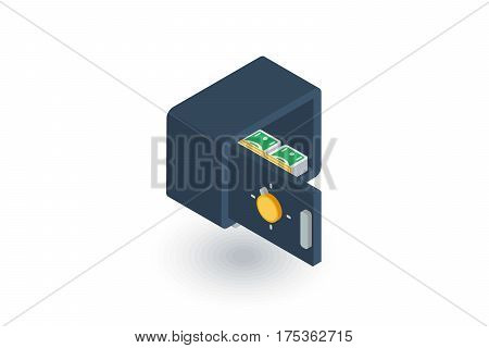 open safe, banking, secrecy money cash isometric flat icon. 3d vector colorful illustration. Pictogram isolated on white background